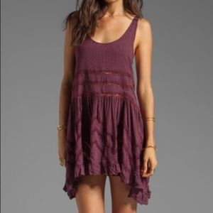 Free People Voile and Lace Trapeze Slip - Burgundy